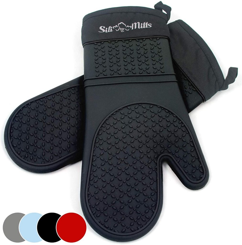 Black silicone oven mitts - photo 3