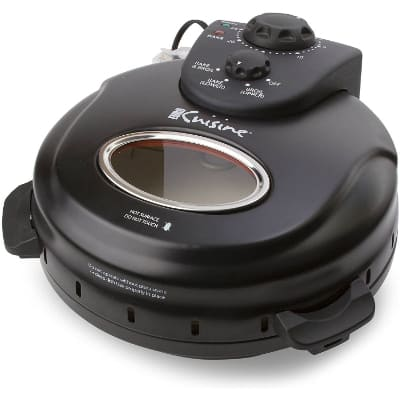 Euro Cuisine PM600 Crispy Crust 12 Rotating Pizza Maker with Stone & Baking Pan, Counter Top, Black