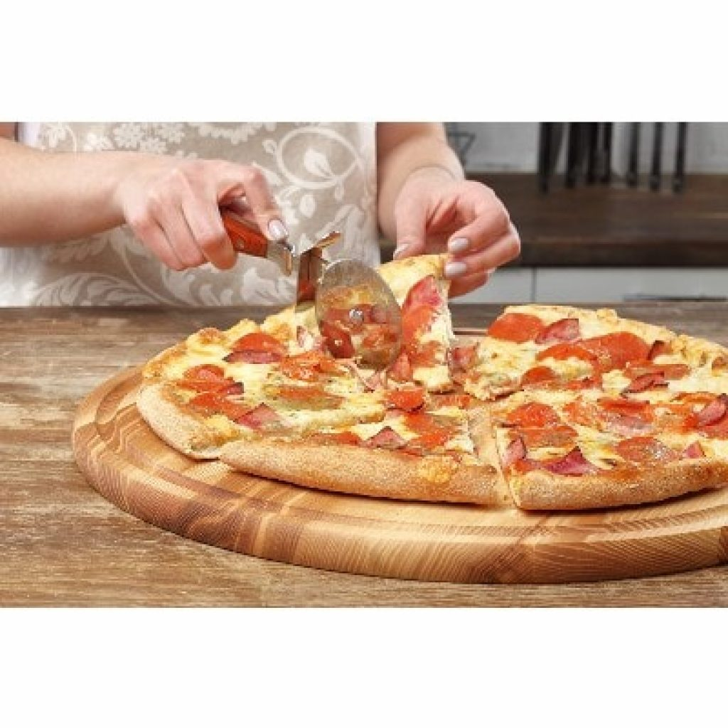 B.Brown Large Round Wood Cutting Board with pizza on it