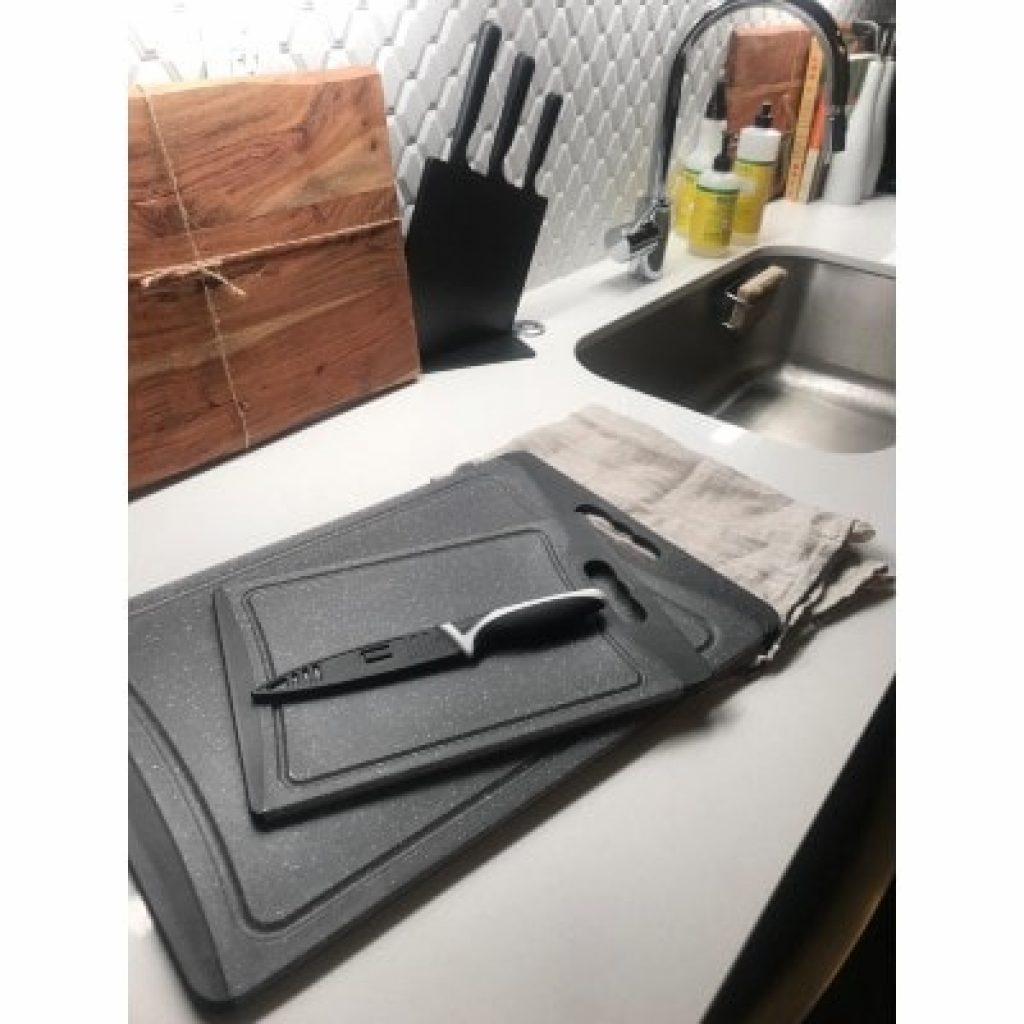 CHEF GRIDS Durable Plastic XL Cutting Board on kitchen