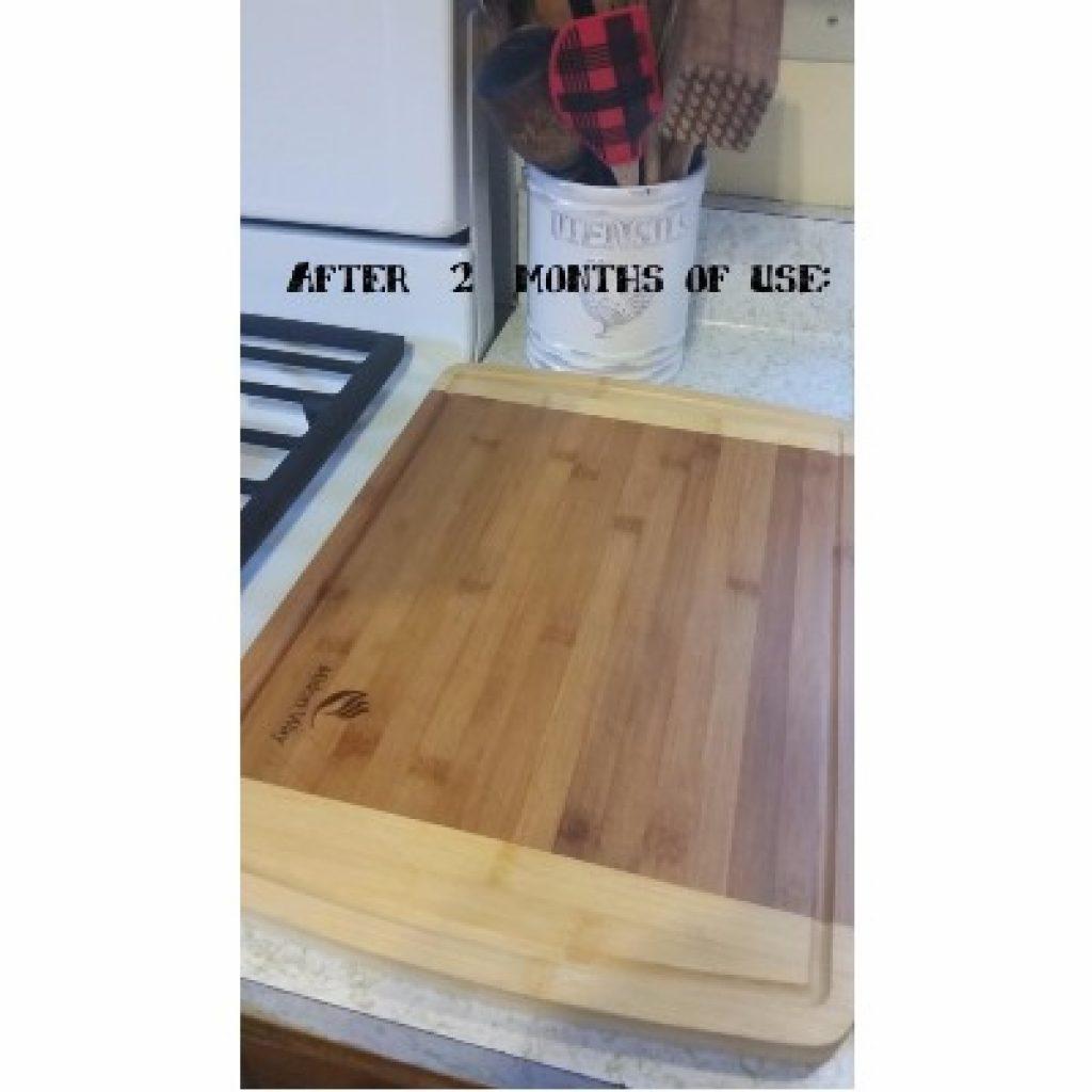 Midori Way Small Bamboo Wood Cutting Board after 2 months of usage