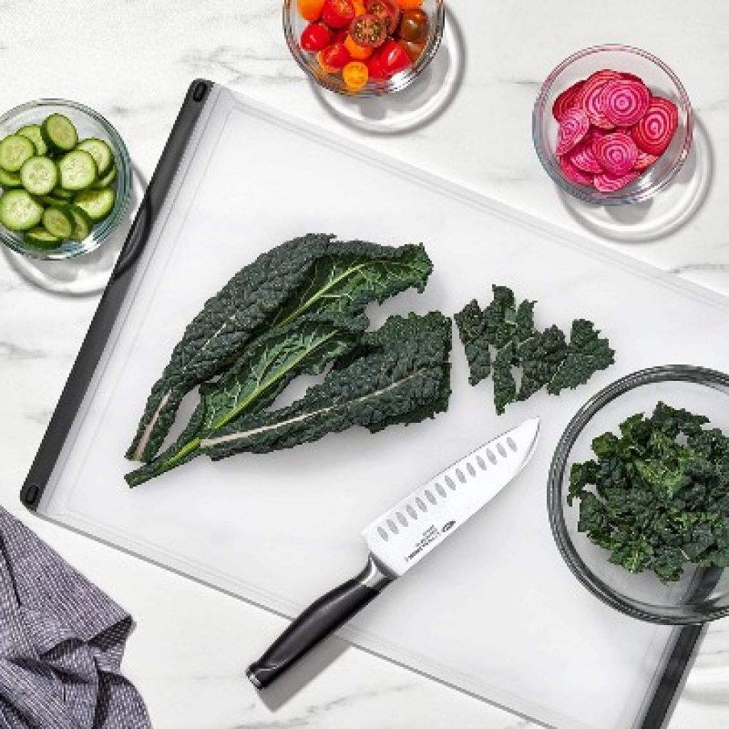 OXO Good Grips Carving and Cutting Board with lettuce on it