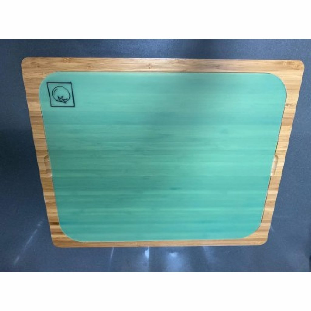 Seville Classics Easy-to-Clean Bamboo Cutting Board with tomato mat on it