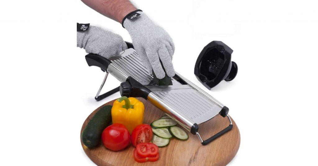 Mandoline Slicer with Cut-Resistant Gloves