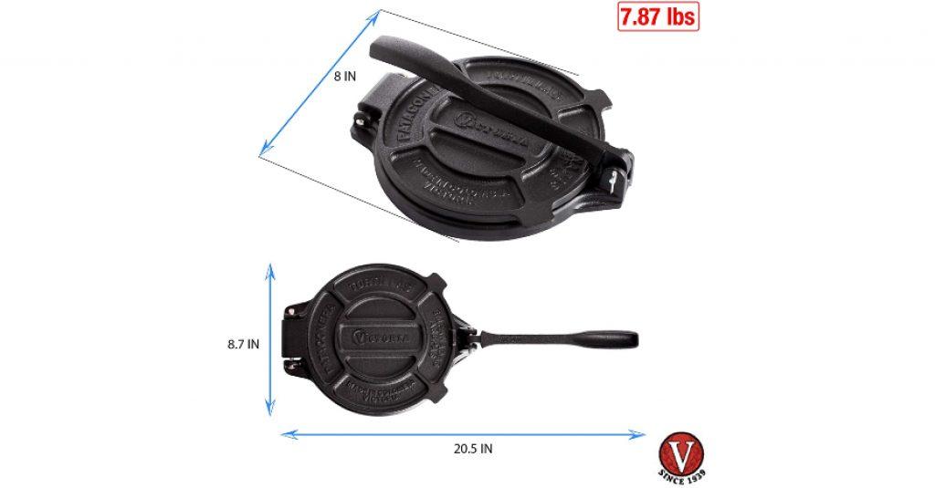 Victoria 8 Inch Cast Iron Press Sizes